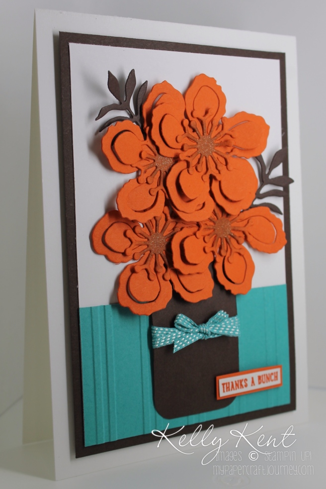 Global Design Project #029 - Thanks A Botanical Bunch card using Tangelo Twist, Early Espresso & Bermuda Bay. Kelly Kent - mypapercraftjourney.com.
