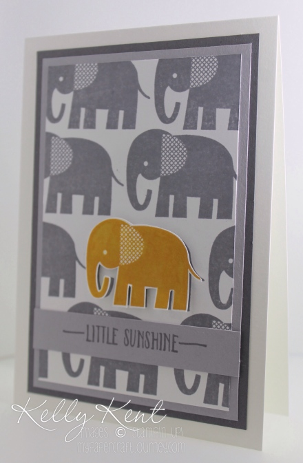 "Just Add Ink #307 - Colour Combination: Delightful Dijon, Basic Gray, Smoky Slate & Whisper White.  Zoo Babies ""Little Sunshine"" Elephant Card.  Kelly Kent - mypapercraftjourney.com."