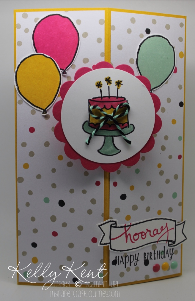Decorative Corner Card - Party My Way, Endless Birthday Wishes & Balloon Celebration stamp sets. Kelly Kent - mypapercraftjourney.com.