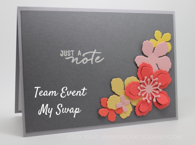 Team Event 2016 - Swap Card using Botanical Builder framelits & Watercolor Wishes stamp set.  Kelly Kent - mypapercraftjourney.com.