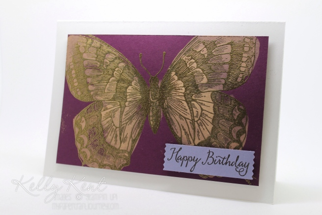 Bleach technique using Swallowtail stamp. Kelly Kent - mypapercraftjourney.com.