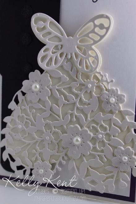 Bloomin' Heart Thinlit & Bold Butterfly Framelit - Wedding Dress Art. Kelly Kent - mypapercraftjourney.com.