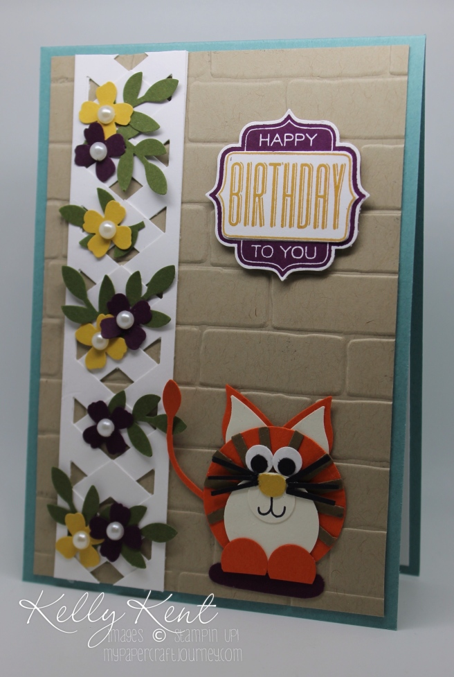ESAD 2016 Retirement List Blog Hop. Trellis Card & Cat Punch Art using Stampin' Up! punches. Kelly Kent - mypapercraftjourney.com.