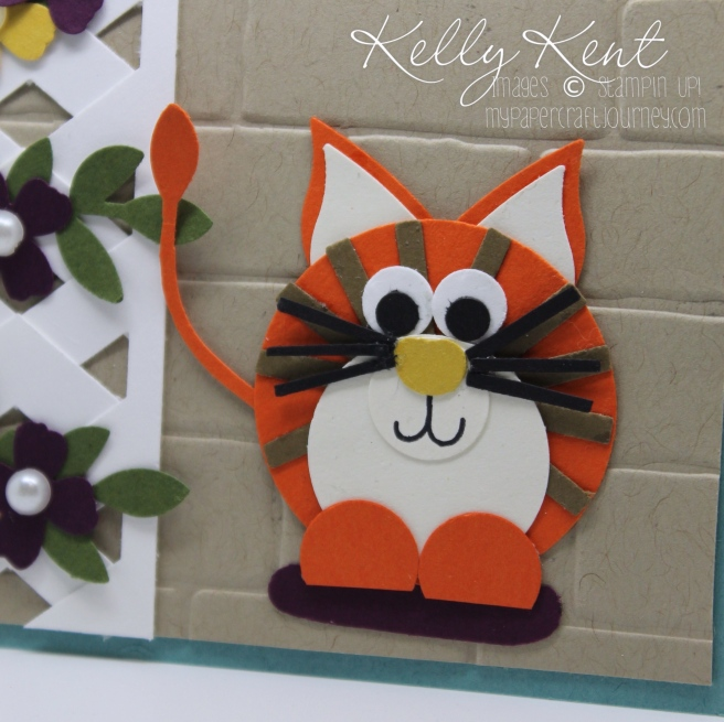 ESAD 2016 Retirement List Blog Hop. Cat Punch Art using Stampin' Up! punches. Kelly Kent - mypapercraftjourney.com.