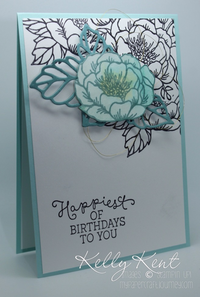 Pop of Colour card using Birthday Blooms stamp set. Kelly Kent - mypapercraftjourney.com.