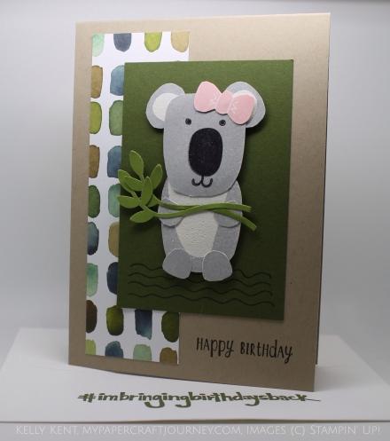 Playful Pals Koala Birthday Card #imbringingbirthdaysback. Happy Birthday to Shannon West! Kelly Kent - mypapercraftjourney.com.