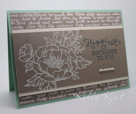 GDP#037 - Birthday Blooms colour challenge - Mint Macaron, Tip Top Taupe & Island Indigo. Kelly Kent - mypapercraftjourney.com.