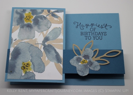 Double Z Pop Out Card - English Card DSP & Birthday Blooms stamp set. Kelly Kent - mypapercraftjourney.com.