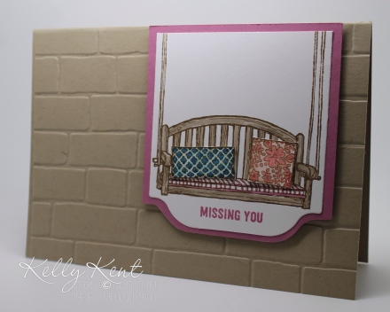 2016 Annual Catalogue Launch: Sweet Sugarplum, Sitting Here stamp set, Thoughtful Banners stamp set, In Color Stampin' Write Markers & Brick Wall embossing folder.  Kelly Kent - mypapercraftjourney.com.