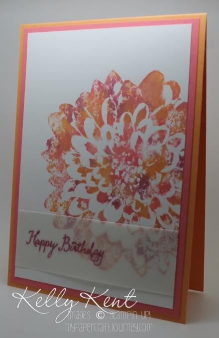 "Just Add Ink - #313 Add ""B"". Baby Wipe Technique - Definitely Dahlia stamp & 2016-2018 In Colors: Peekaboo Peach, Sweet Sugarplum & Flirty Flamingo. Kelly Kent - mypapercraftjourney.com."