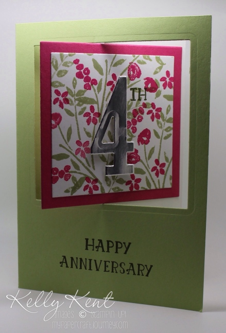 Pop Out Swing Card - Number of Years Anniversary design. Kelly Kent - mypapercraftjourney.com.