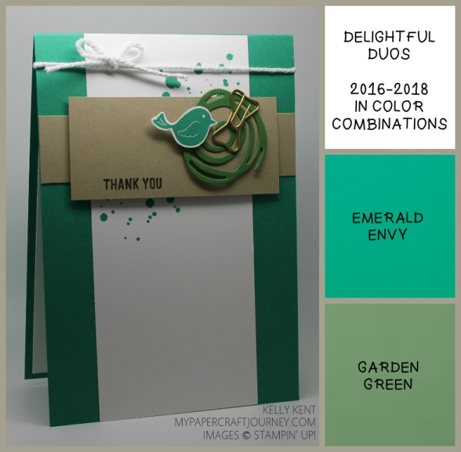 ESAD 2016-17 Annual Catalogue Blog Hop - Delightful Duos Emerald Envy & Garden Green. Swirly Bird/Scribbles & Thoughtful Banners. Kelly Kent - mypapercraftjourney.com