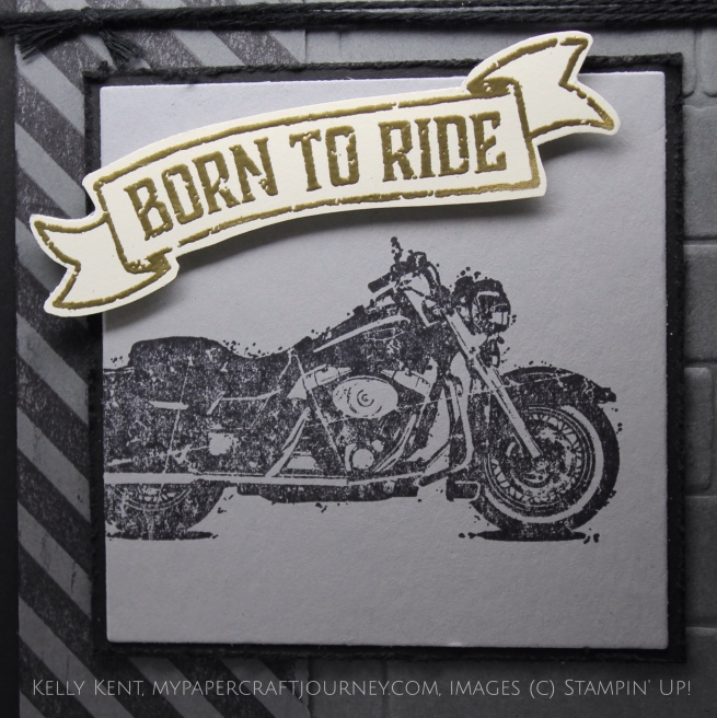 JAI#316 - Stripes. Masculine birthday card - One Wild Ride stamp set. Kelly Kent - mypapercraftjourney.com.
