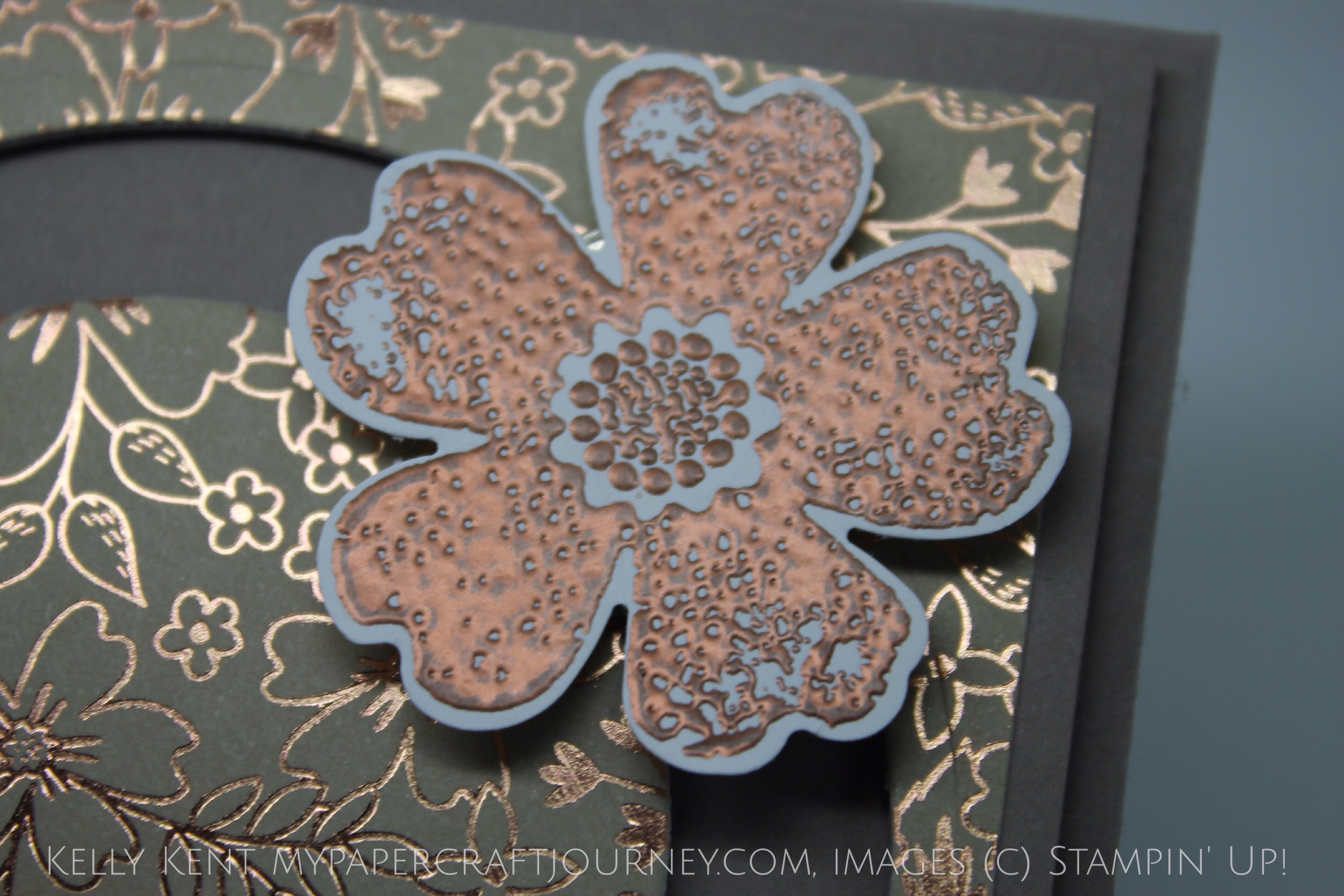 Stamp Review Crew - Flower Shop Spinner Card. Affectionately Yours DSP & Cooper Embossing Powder. Kelly Kent - mypapercraftjourney.com.