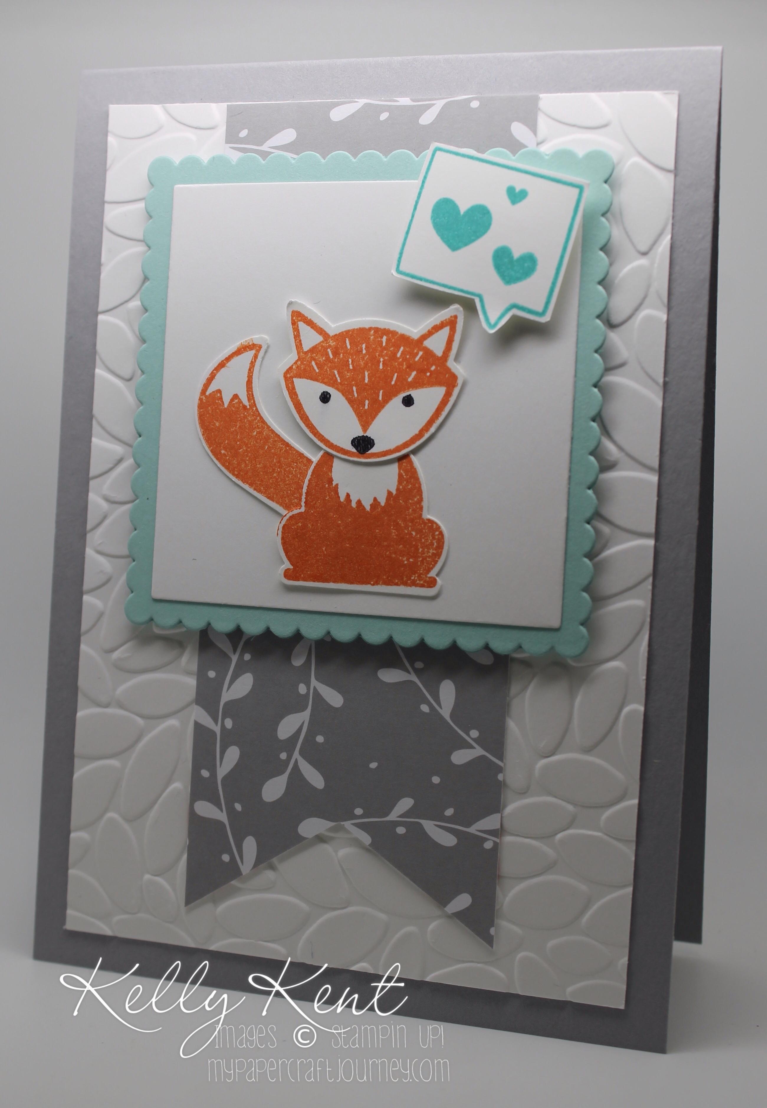 Mr Foxy & His Fabulous Friends - A Little Foxy Suite: Foxy Friends stamp set, Fox Builder punch & A Little Foxy DSP. Fox version. Kelly Kent - mypapercraftjourney.com.