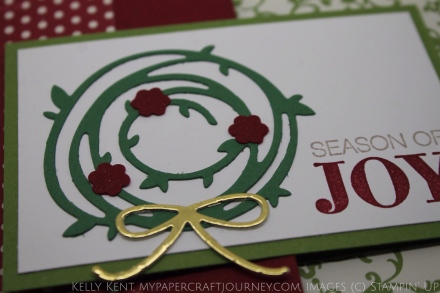 Season of Joy Flip Flop Card for my personal challenge - using retired DSP (Festival of Prints). Christmas wreath with Swirly Scribbles thinlits and Holly Jolly Greetings stamp set. Kelly Kent - mypapercraftjourney.com.