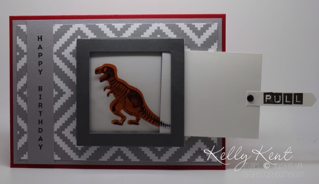 Magic Reverse X-Ray Dinosaur Card. No Bones About It, A Little Foxy DSP & Layering Square Framelits. Kelly Kent - mypapercraftjourney.com.