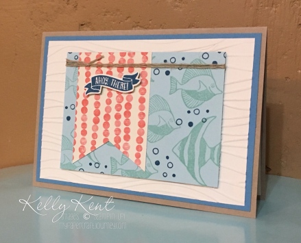 Ahoy There - By The Shore suite. Seaside Shore stamp set & By the Shore DSP. Kelly Kent - mypapervraftjourneymypapercraftjourney.com.