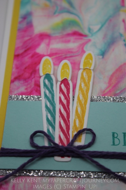Birthday Wishes Miss M. What make a fun card when you're 3??? A shaving foam background, lots of glimmer & three candles. Kelly Kent - mypapercraftjourney.com.
