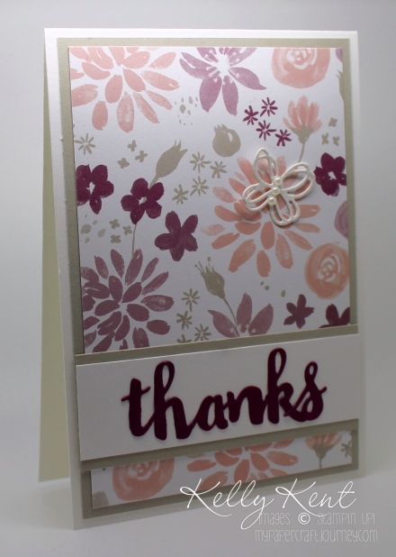 Thank you card - Sunshine Wishes thinlits and Blooms & Bliss DSP. Kelly Kent - mypapercraftjourney.com.