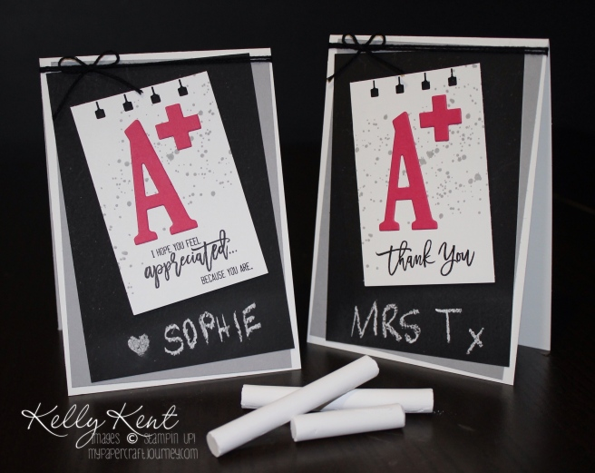 Chalkboard Thank You Teacher Cards. Thoughtful Branches & Large Letters. GDP#045. Kelly Kent - mypapercraftjourney.com.