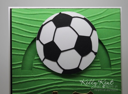 Soccer Spinner Card for teenager with tutorial for half spinner. Kelly Kent - mypapercraftjourney.com.