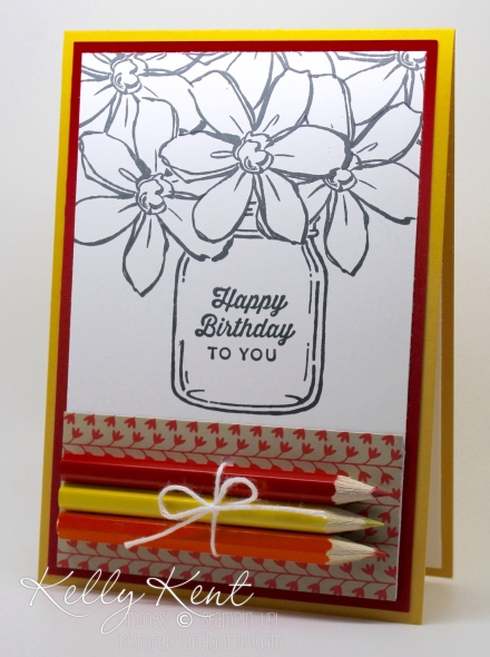 DIY Colouring Cards - Garden in Bloom Bouquet. Black & white images with pencils attached. Fun for kids & adults! Kelly Kent - mypapercraftjourney.com.