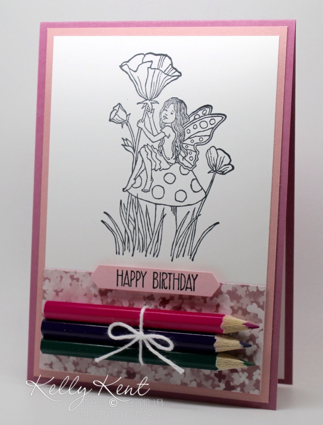 DIY Colouring Cards - Fairy Celebration. Black & white images with pencils attached. Fun for kids & adults! Kelly Kent - mypapercraftjourney.com.