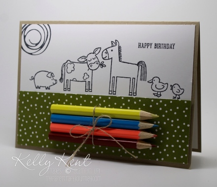 DIY Colouring Cards - Barnyard Babies. Black & white images with pencils attached. Fun for kids & adults! Kelly Kent - mypapercraftjourney.com.