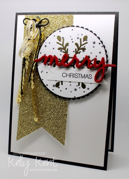 CASEing The Catty Sunday Blog Hop #89 - Christmas. Holly Jolly Greetings & Christmas Greetings Thinlits. Black, Gold & Red Christmas. Kelly Kent - mypapercraftjourney.com.