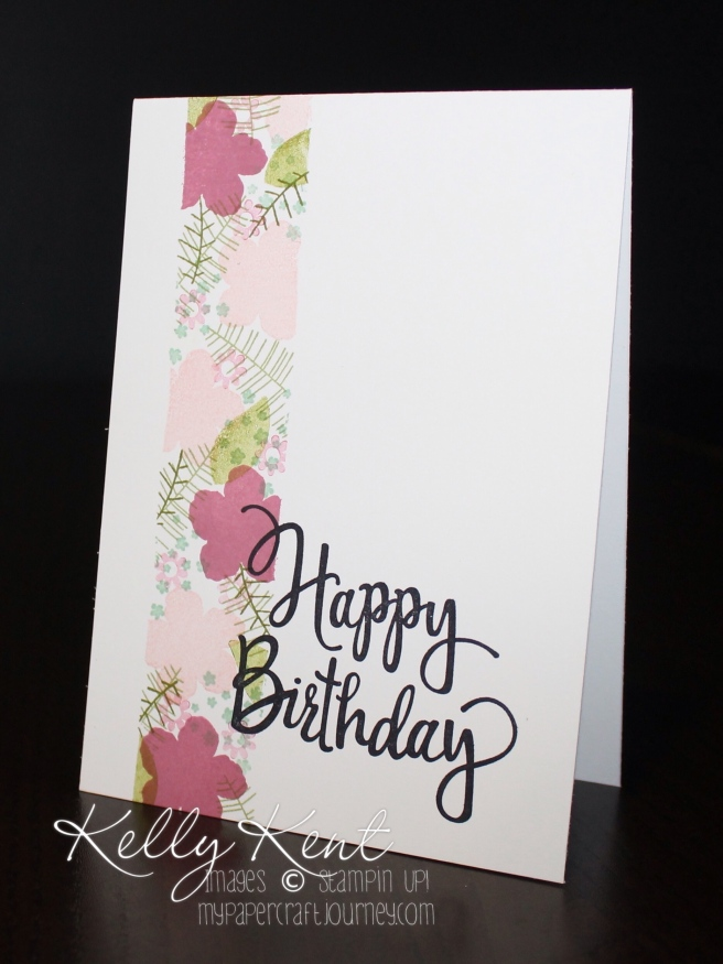 Stamp Review Crew - Botanical Blooms stamp set. One-Layer cards with Stylized Birthday stamp. Kelly Kent - mypapercraftjourney.com.