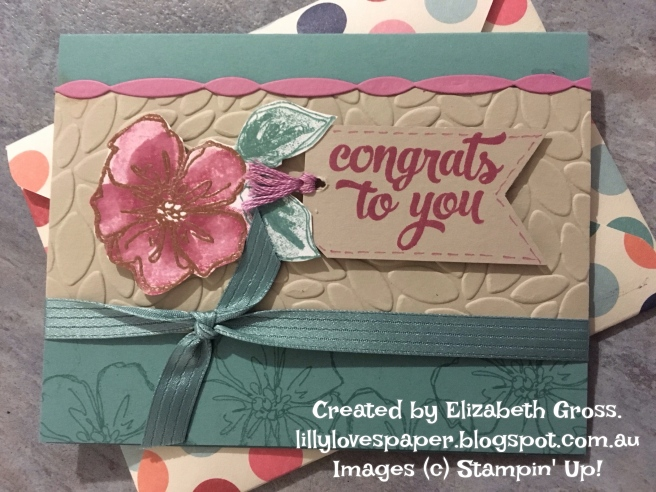 Congrats card - made for Kelly Kent @mypapercraftjourney.com by Elizabeth Gross - lilylovespaper.blogspot.com.au.