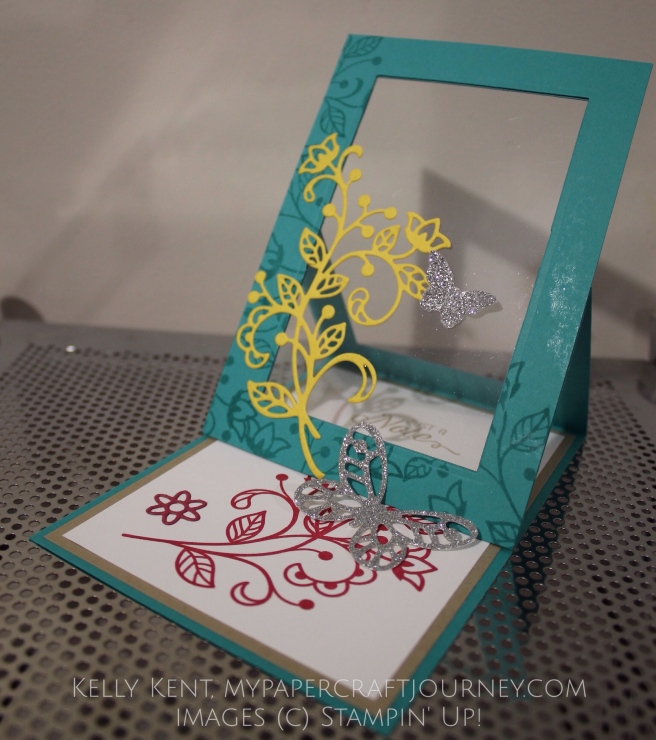 Stamp Review Crew - Flourishing Phrases. Easel Window Card. Kelly Kent - mypapercraftjourney.com.
