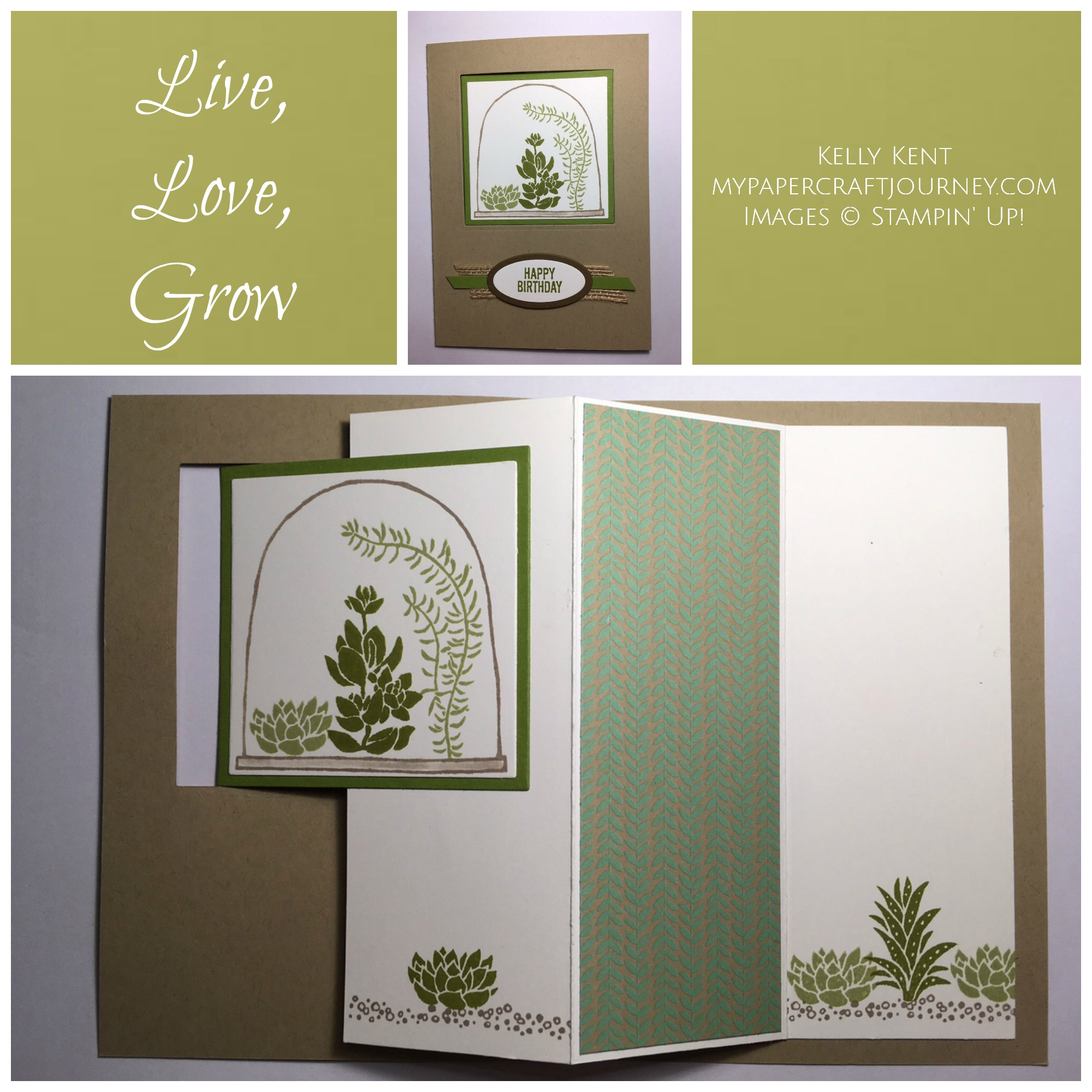 Live, Love, Grow Terranium Pop Out Swing Card. Kelly Kent - mypapercraftjourney.com.
