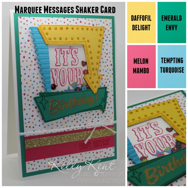 Marquee Messages Shaker Card - Roller Fun Party. Kelly Kent - mypapercraftjourney.com.