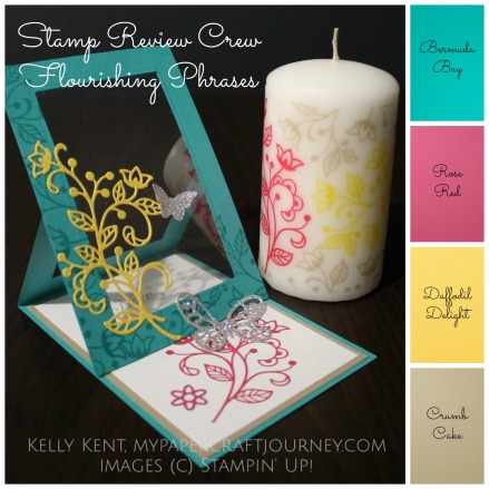 Stamp Review Crew - Flourishing Phrases. Candle & Easel Window Card project set. Kelly Kent - mypapercraftjourney.com.