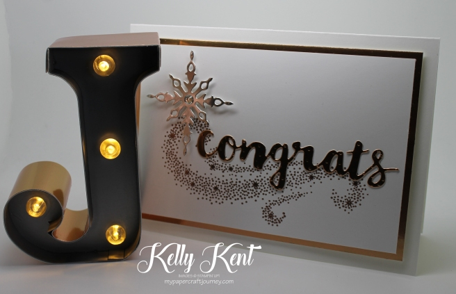 Star of Light Copper Gift Set. Congrats card & Typo copper-trim letter. Kelly Kent - mypapercraftjourney.com.