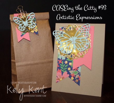 CASEing The Catty #93 - Artistic Expressions. Butterfly & Banners Decorated Petite Cafe Bag & Card. Kelly Kent - mypapercraftjourney.com