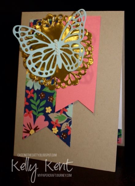 CASEing The Catty #93 - Artistic Expressions. Butterfly & Banners Card. Kelly Kent - mypapercraftjourney.com