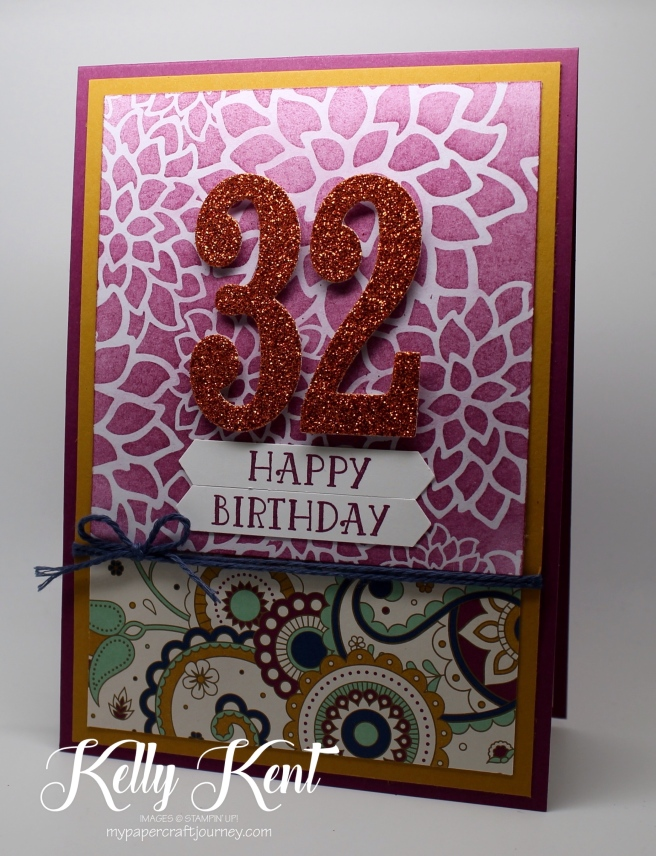 2016 Holiday Catalogue - Petals & Paisleys DSP & Pumpkin Pie Glimmer. Number of Years & Large Numbers Framelits. Kelly Kent - mypapercraftjourney.com.