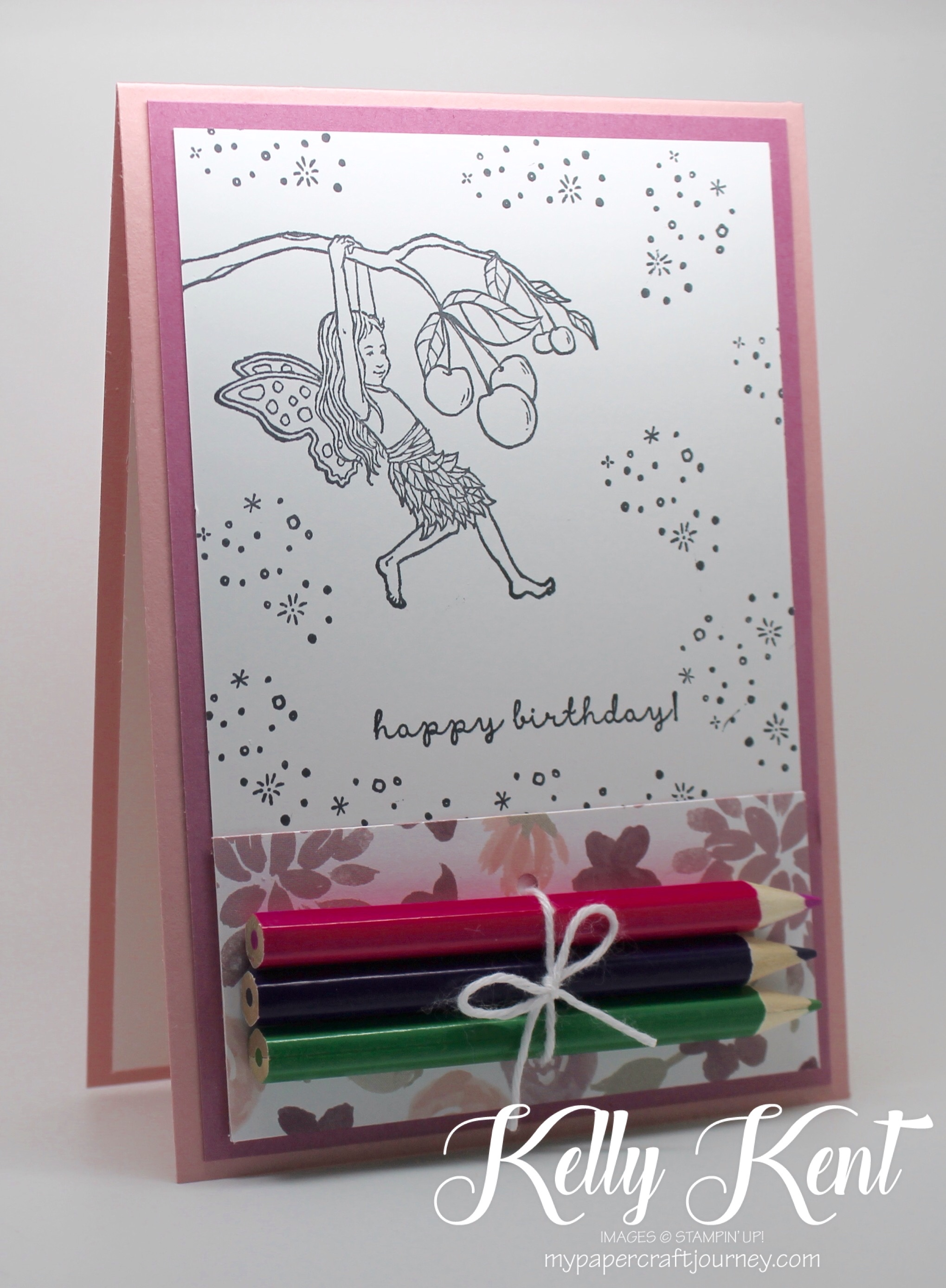 DIY Colouring Cards - Fairy.  Black & white images with pencils attached.  Fun for kids & adults!  Kelly Kent - mypapercraftjourney.com.