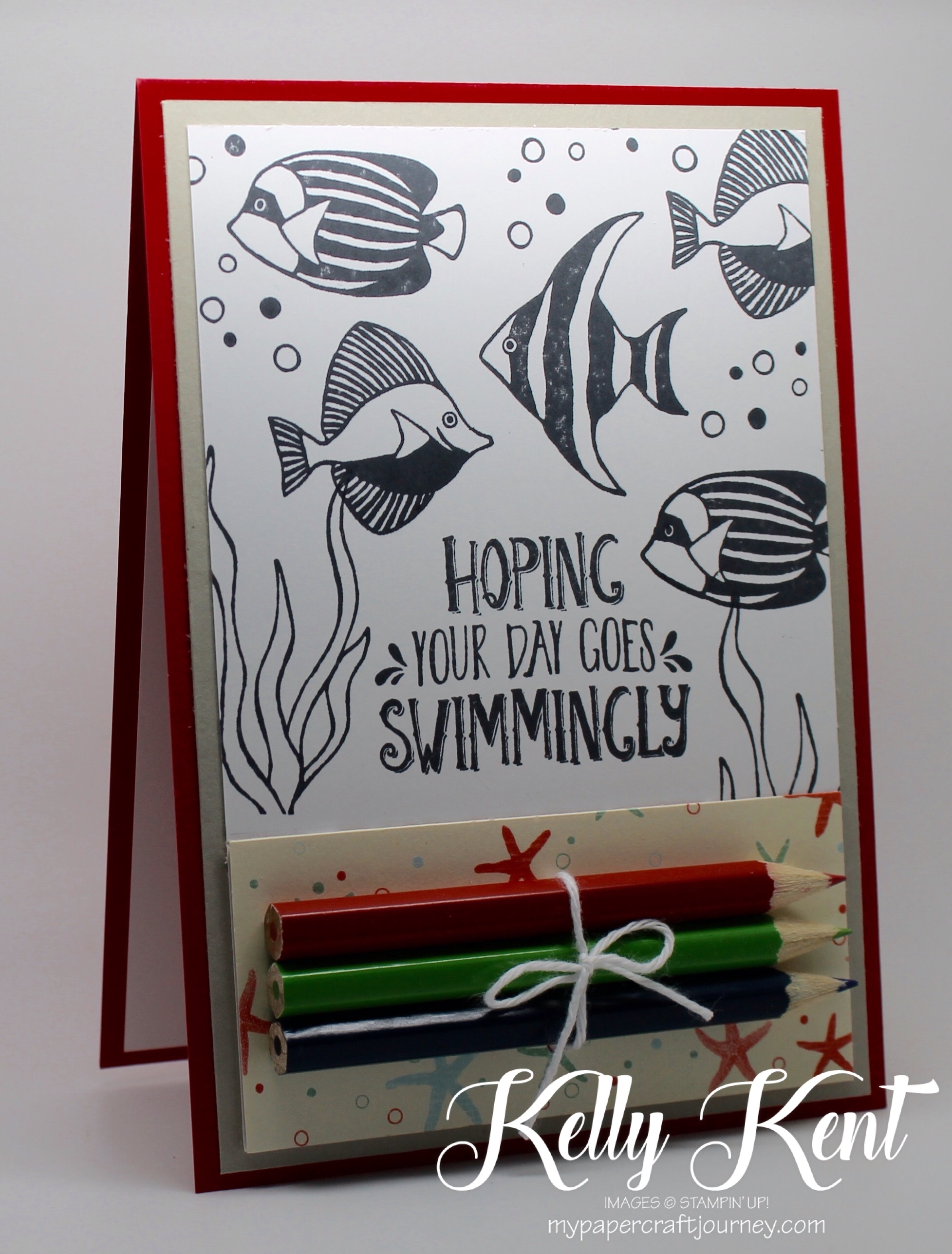 DIY Colouring Cards - Seaside Shore.  Black & white images with pencils attached.  Fun for kids & adults!  Kelly Kent - mypapercraftjourney.com.