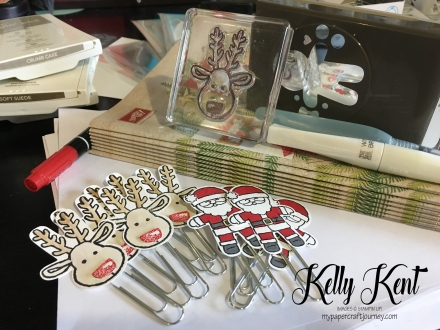 The 2016 Holiday Catalogues have arrived! If you live in Australia and would like a copy, please email me: kelly.kent@westnet.com.au.  Santa & Reindeer bookmarks using the Cookie Cutter stamp set & punch (inspired by Terina & Crafty Star). Kelly Kent - mypapercraftjourney.com.