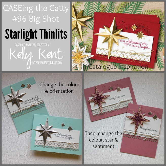 CASEing the Catty #96 - Big Shot. Starlight Thinlits & Star of Light stamp set. Kelly Kent - mypapercraftjourney.com.