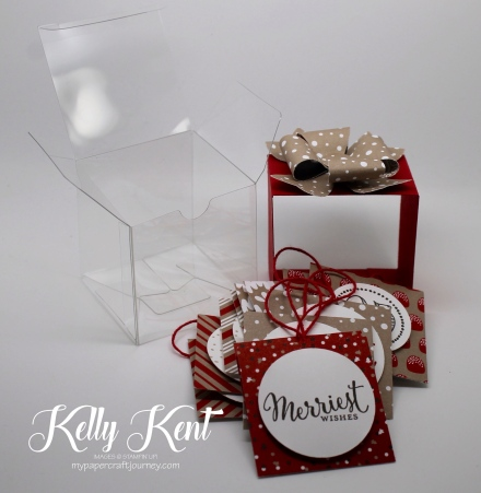 CASEing the Catty #94 - Candy Cane Lane suite. Christmas Tags in a Clear Tiny Treat Box. Kelly Kent - mypapercraftjourney.com.