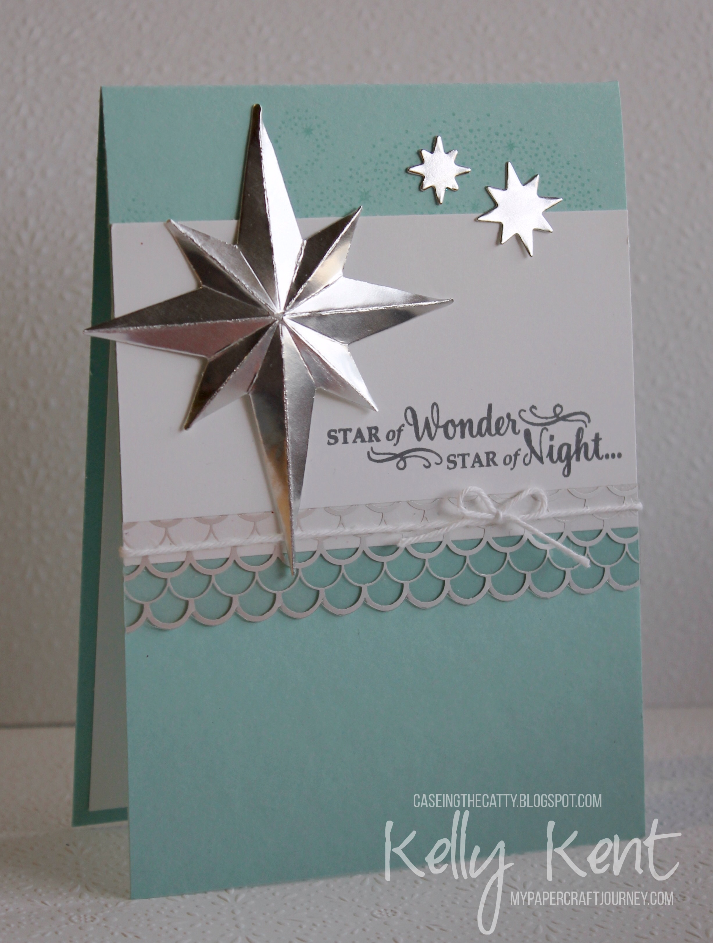CASEing the Catty #96 - Big Shot. Starlight Thinlits & Star of Light stamp set - Pool Party. Kelly Kent - mypapercraftjourney.com.