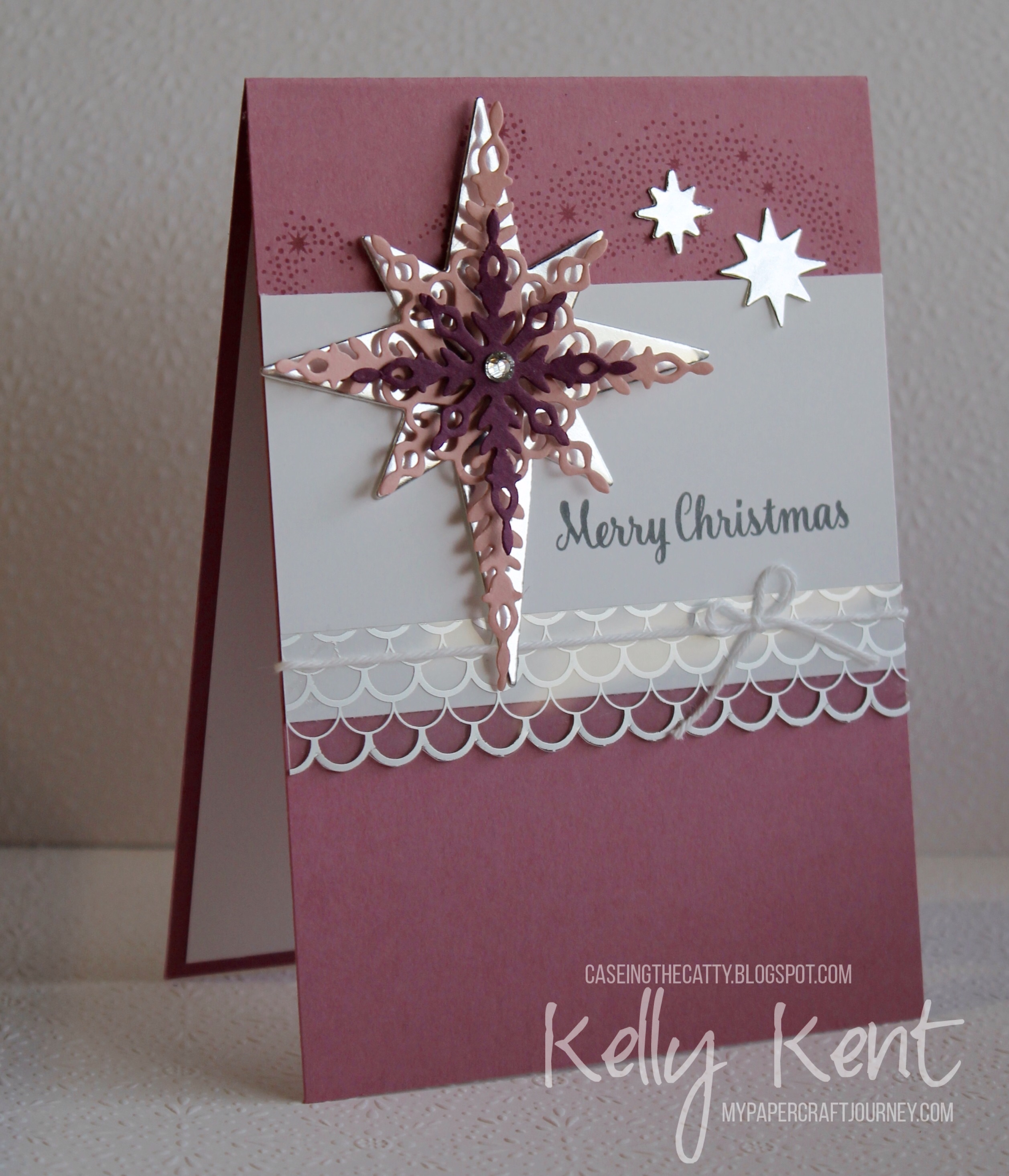 CASEing the Catty #96 - Big Shot. Starlight Thinlits & Star of Light stamp set - Sweet Sugarplum. Kelly Kent - mypapercraftjourney.com.