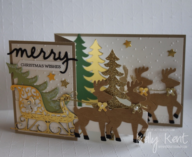 CASEing the Catty #97 - Favourite Holiday Bundle. Santa's Sleigh Z-Fold Card.  Kelly Kent - mypapercraftjourney.com.
