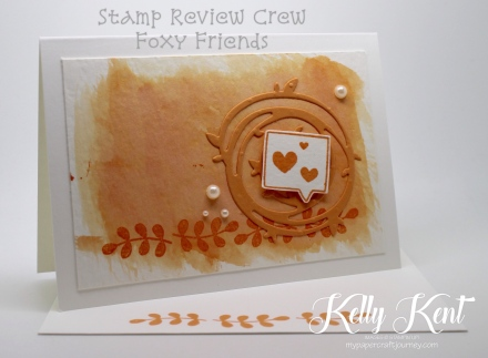 Stamp Review Crew - Foxy Friends stamp set. Watercolour Notecard - Peekaboo Peach. Kelly Kent - mypapercraftjourney.com.