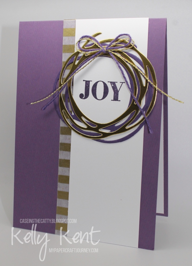 CASEing the Catty - Warmth & Cheer. Swirly Scribbles Wreath. Kelly Kent - mypapercraftjourney.com.
